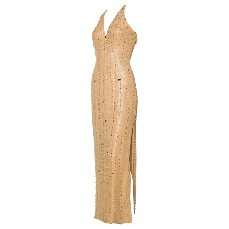1970s Nude & Gold Halter Gown with Studs and Crystals