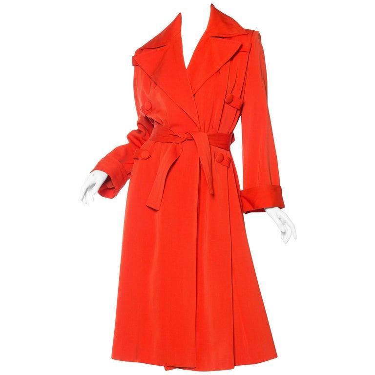 1970s Rich Orange Wool  & Rayon Gaberdine Coat