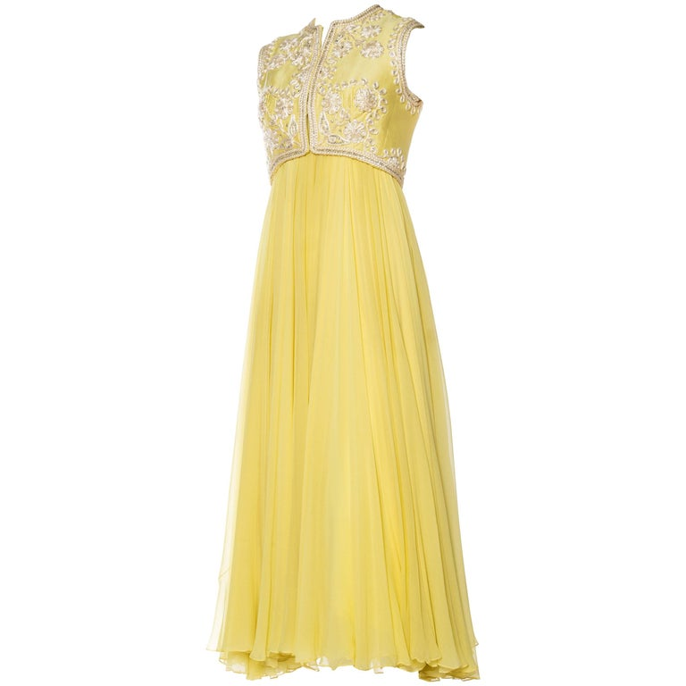 1960s Beaded Silk Chiffon Gown