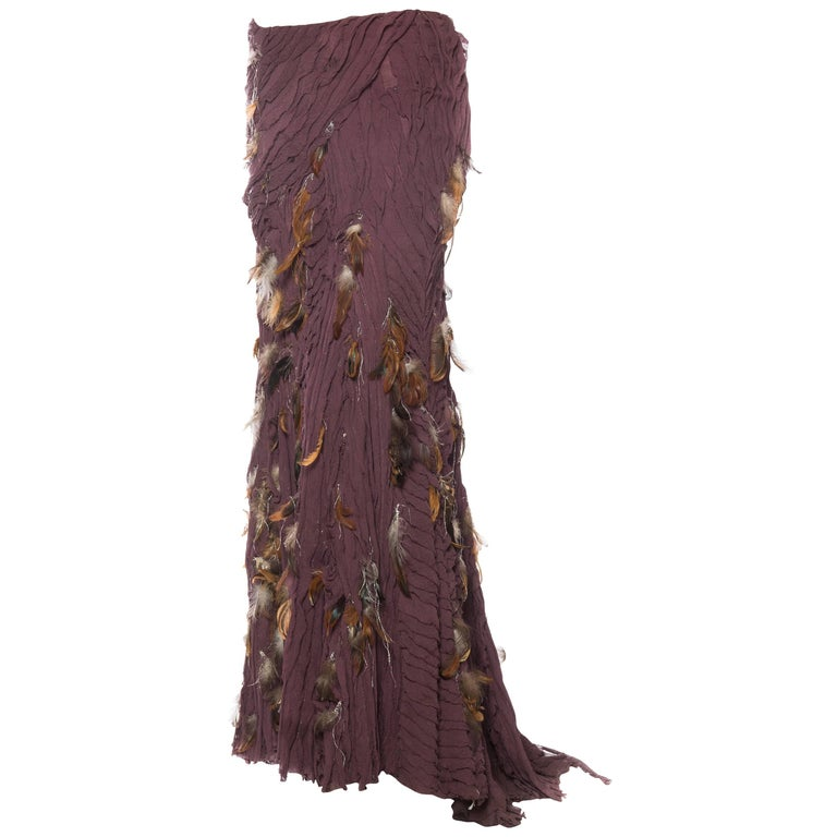 Naeem Khan Feathered Skirt with Train