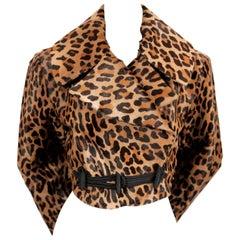 1991 AZZEDINE ALAIA leopard calf fur runway jacket