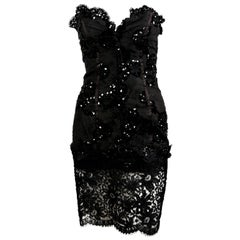 1992 Yves Saint Laurent lace mini dress with sequins and sheer
