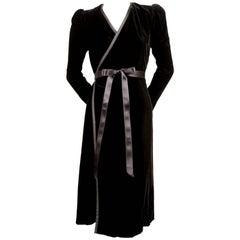 Yves Saint Laurent black velvet wrap dress, 1970s