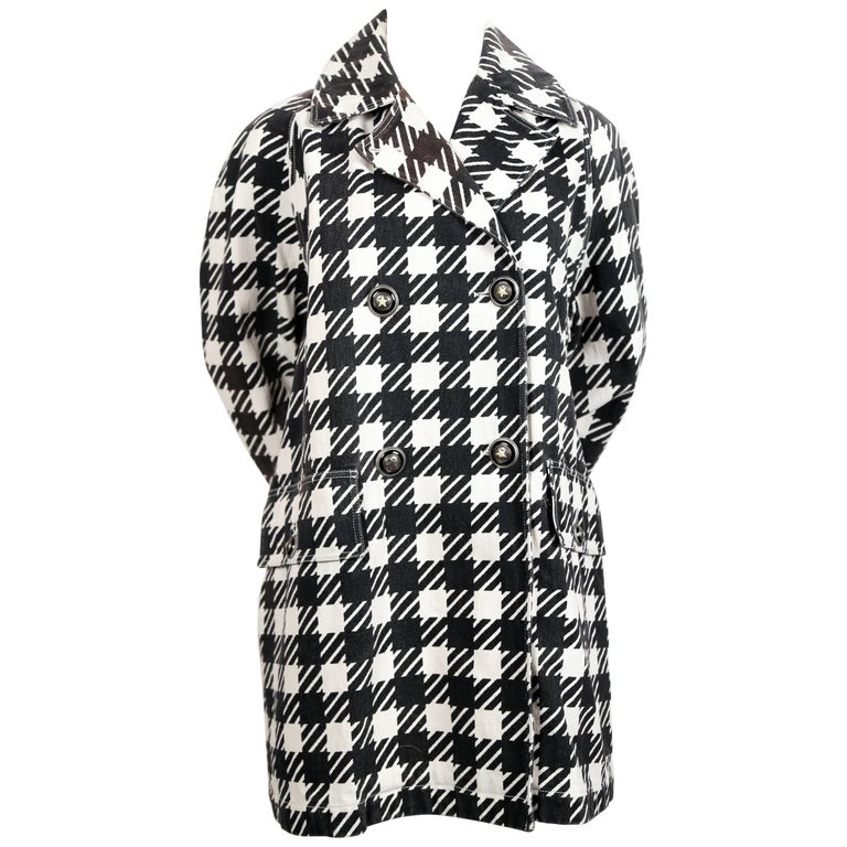 1991 AZZEDINE ALAIA black checked 'Tati' coat with star buttons