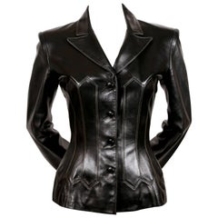 1991 AZZEDINE ALAIA black leather corset jacket with topstitching
