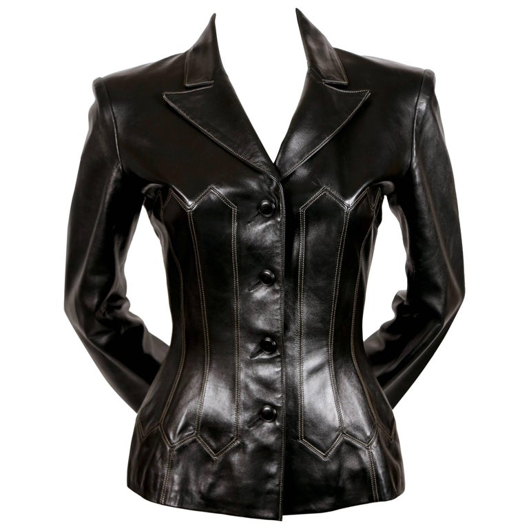 1990's AZZEDINE ALAIA black leather corset jacket with topstitching