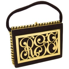 1940s Brown Suede Evening Bag with Gold Initial Details