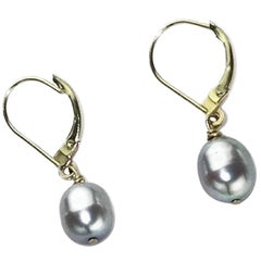 Gray Pearl in Yellow Gold Lever Back Earrings