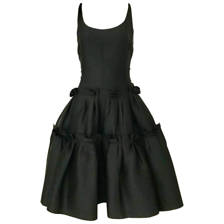 Oscar De La Renta Black Silk Cocktail Dress  For Sale