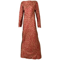 HALSTON 1970s Red and Gold Metallic Print Silk Lamè Bias Cut Dress