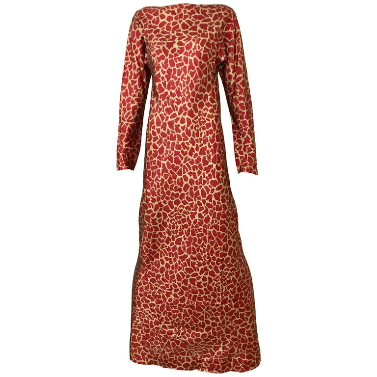 HALSTON 1970s Red and Gold Metallic Print Silk Lamè Bias Cut Dress 1