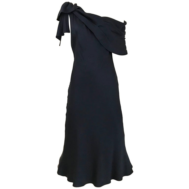 CHRISTIAN DIOR Navy Blue Silk charmeuse  One Shoulder Cocktail Dress