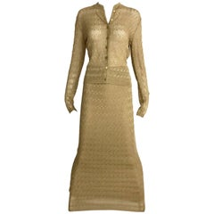 Christian Dior Gold Knit Cardigan Skirt Set