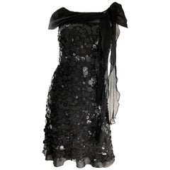 Moschino Cheap & Chic 1990s Black Chiffon Paillettes Sequin Vintage 90s Dress