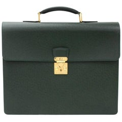 Louis Vuitton Serviette Laguito Green Taiga Leather Briefcases