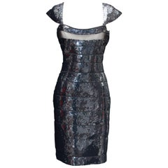 2000s Hervé Léger short evening dress, bandage covered with black sequins