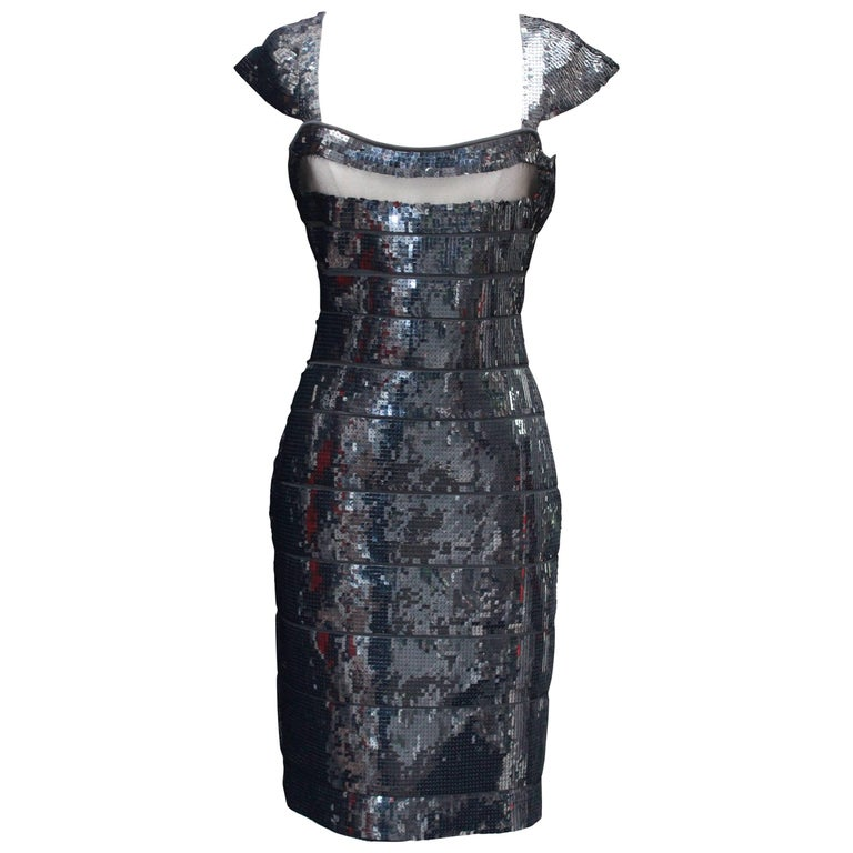 2000s Hervé Léger short evening dress, bandage covered with black sequins