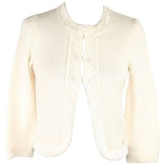 CHANEL Ivory Wool OPEN FRONT CARDIGAN w/ Sequin SIZE 38