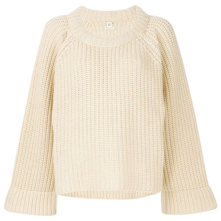 Hermes Chunky Knit Cashmere/Cotton Cream Jumper For Sale