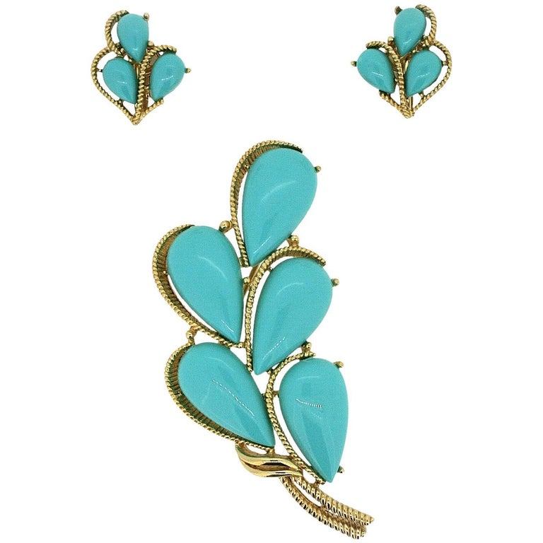 Trifari 1960s Turquoise Cabochon Brooch and Earrings Set 1