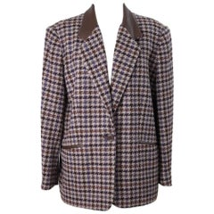 Laura Biagiotti vintage tweed jacket brown women size 48 wool check made italy