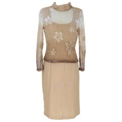 Pierre Cardin Paris vintage tunic women dress beige lace and wool 1970s size 44