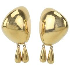 Vintage Liz Claiborne Modernist Gold Tone Clip On Earrings