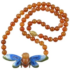 Chinese Carved Carnelian and Enamel Cicada Necklace. Vermeil Silver 1920s.