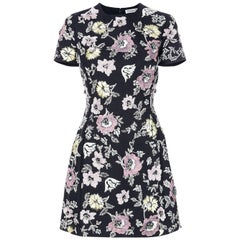 Christian Dior Navy Flower Embroidered Dress