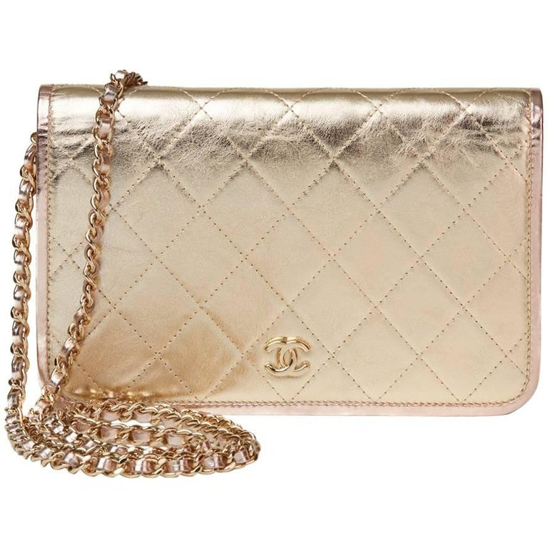 7f093897c98850 2017 Chanel Gold Quilted Metallic Calfskin Leather Wallet-On-Chain Woc For  Sale