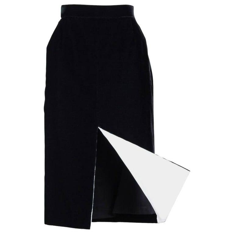 8c6ce2251d 1980s Ara Modell Black Velvet Pencil Skirt with White Lined Slit Size S For  Sale. This figure-flattering high waisted ...