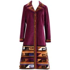 1970s Roberta di Camerino Ruby Red Aztec Design Velvet Coat Size M/L