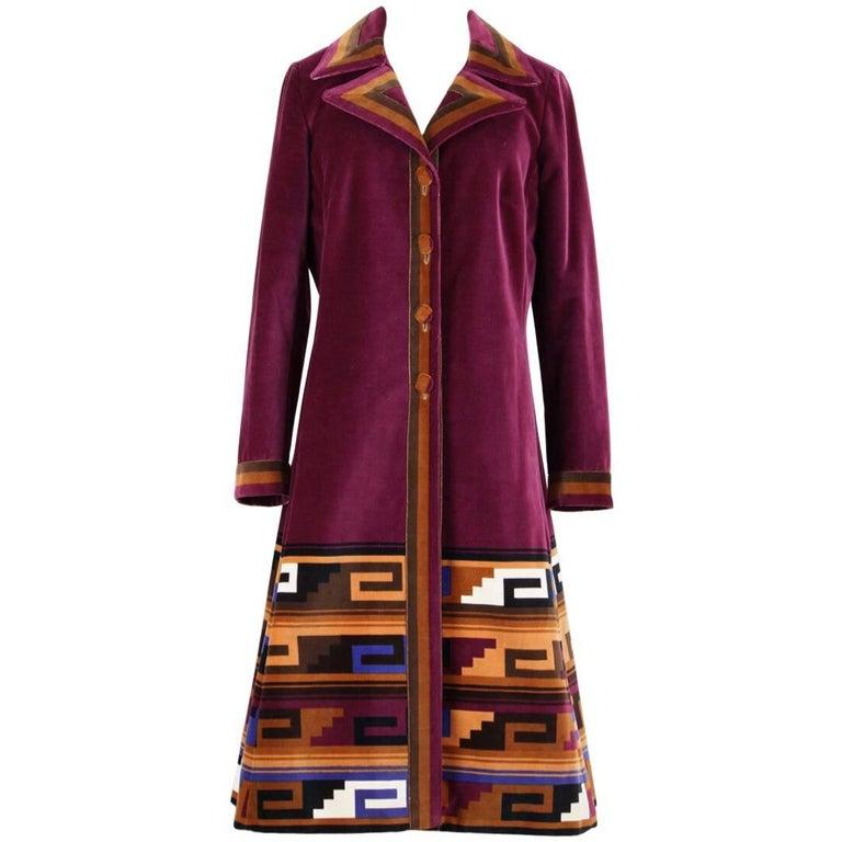 Roberta di Camerino Ruby Red Aztec Design Velvet Coat Size M/L, 1970s  For Sale