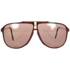 Mint Vintage Ferrari Bordeaux & Gold Accents 1980 Made in Italy Sunglasses