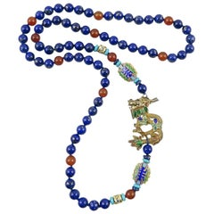 Chinese Gilded Silver Dragon Necklace with Carnelian and Lapis Beads. 1980's.