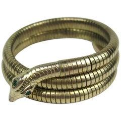 1940s 3 Coil Green Eyed Wrap Snake Bracelet