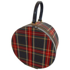 1950s Tartan Plaid Hat Box Case