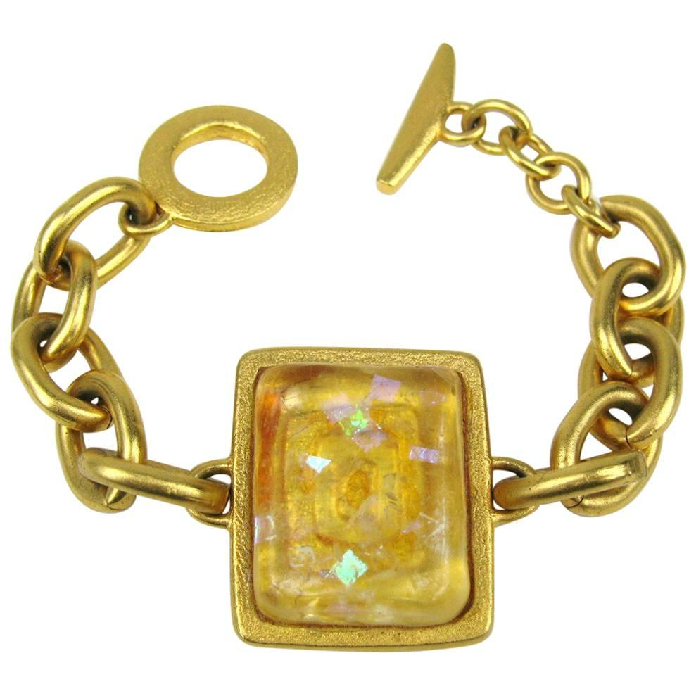 e6a4ec13ed9 FENDI c.1980's Gold Statement Glass Cabochon Demi Parue Earring Bracelet  Set For Sale at 1stdibs