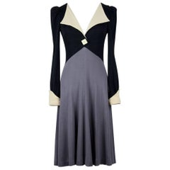 Early 1970s Biba Black Grey and Ivory Wool Knit Dress Size XS-S