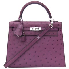 HERMES Kelly 25 Sellier Bag Ostrich Violine Palladium Hdw Aurtuche Purple 25 cm