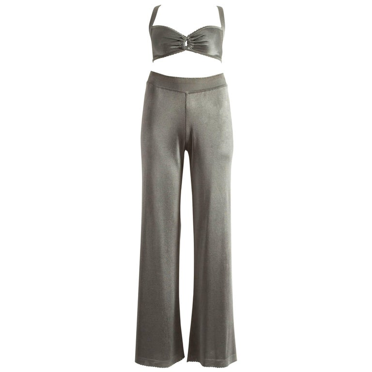 Azzedine Alaia Spring-Summer 1993 grey acetate knitted bra and pants ensemble