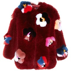 Fendi Ruby Red Fox Fur and  Flower Applique Jacket Size IT40, 2016