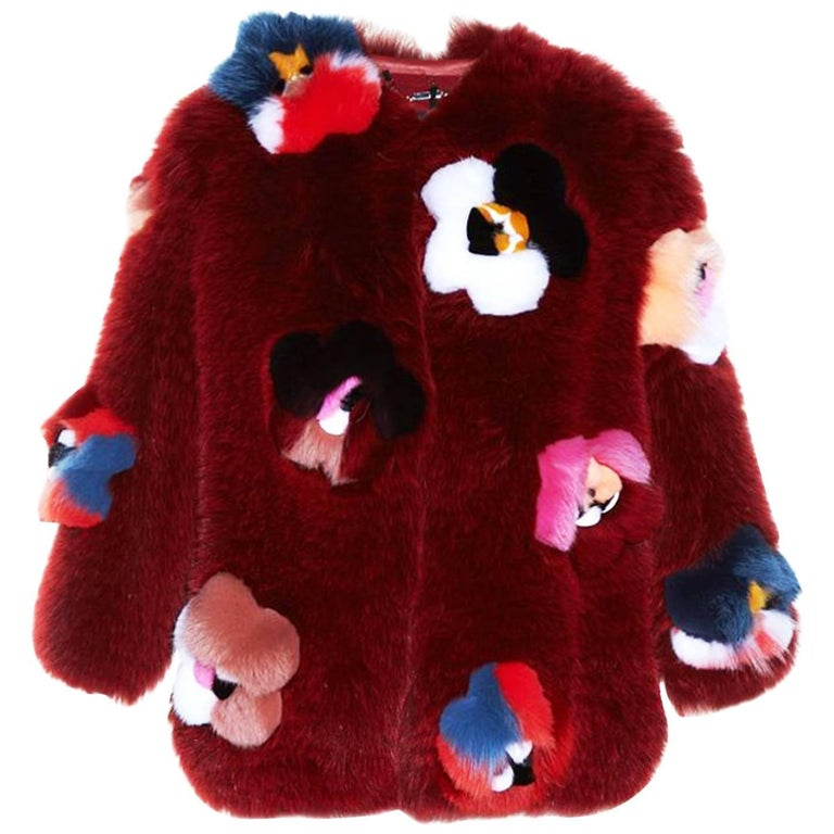 Fendi Ruby Red Fox Fur and  Flower Applique Jacket Size IT40, 2016    For Sale