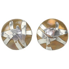 1980s Margaret Ellis Brutalist Bronze and Sterling Silver Earrings