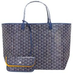 Goyard Bleu Marine Navy Blue St Louis GM Chevron Tote Bag