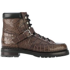 Hermes Brown Crocodile Boots