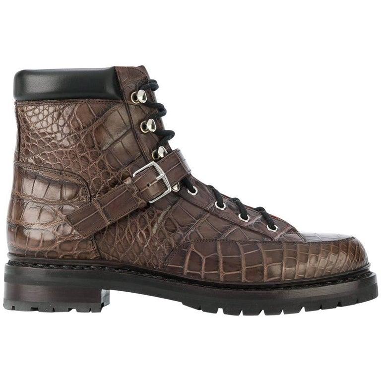 Hermes Brown Crocodile Boots