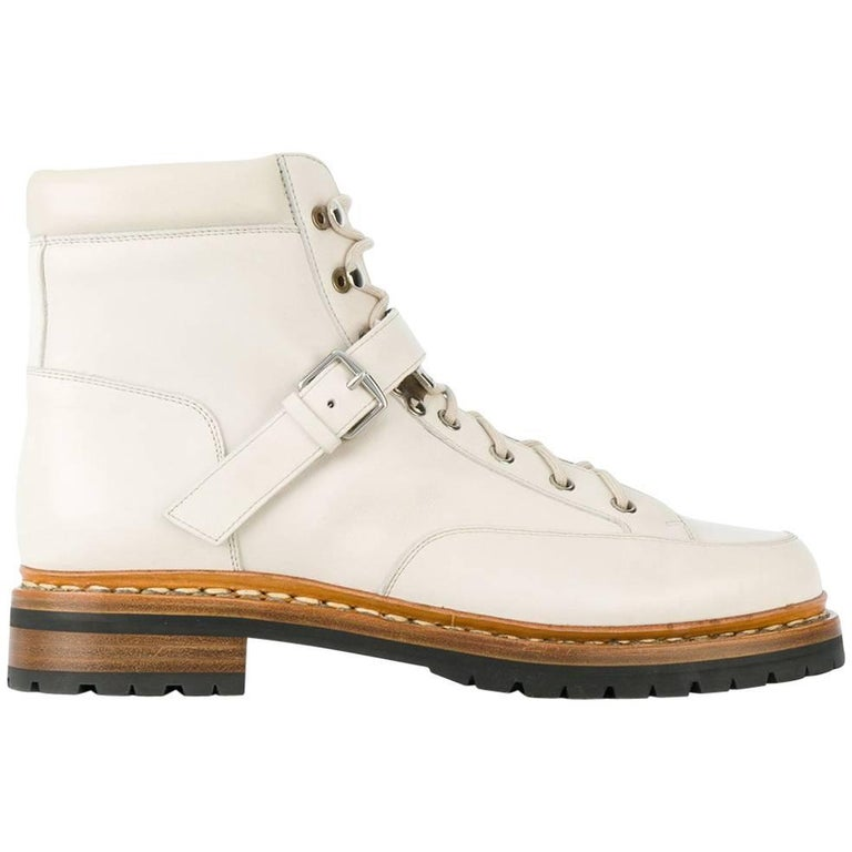 Hermes Off-White Leather Boots