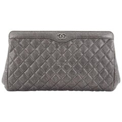 Chanel CC Frame Clutch Quilted Caviar Large