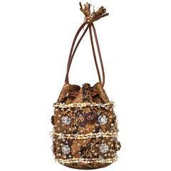 Prada Brown Python Beaded Mini Bucket Bag